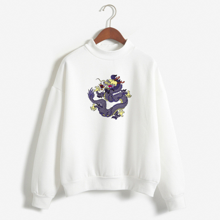 Girl's Sports Basic Hoodies Mythological Story Character Dragon Print Cool Chinese Style Street Preppy Style Joker Fall Clothing