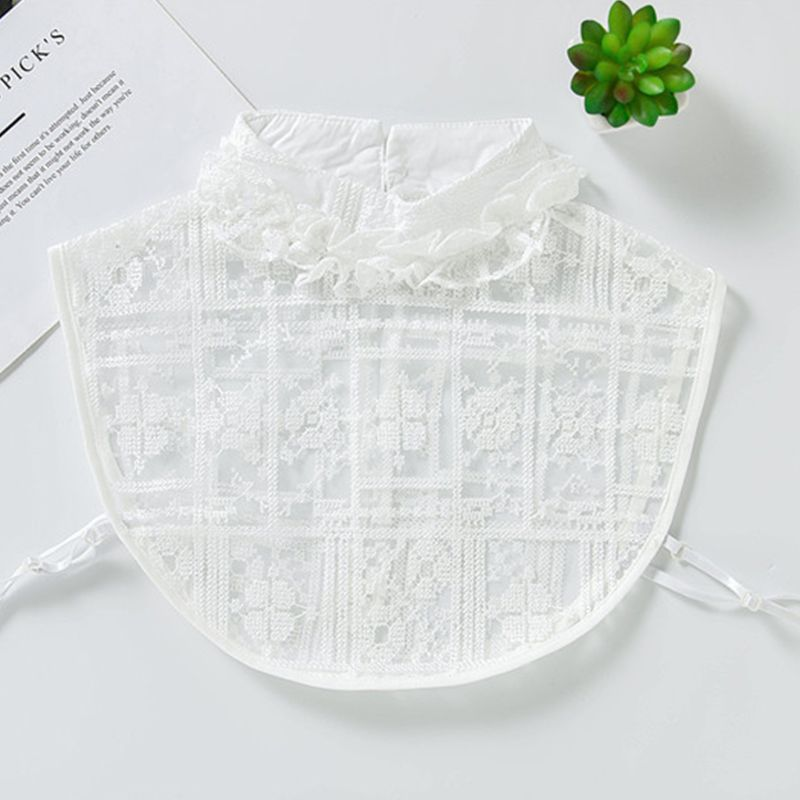 Sweet Women Lolita Sweater Ruffles Fake Stand Collar Embroidery Lace Half-Shirt C6UD