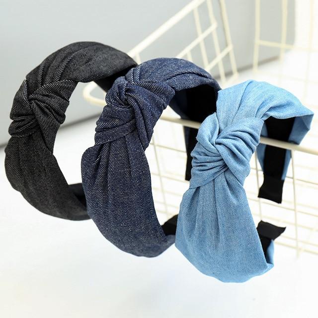 Denim Tie dye Knot Hairband Cross Headband  for Women Girls Hair Accessories