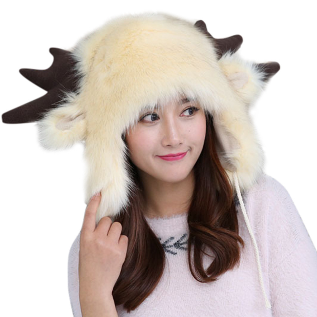 SAGACE  Cute Warm Plush Fluffy Faux Fur Hood Hat Spirit Ears Wolf Bear Cat Costume Hat  Outdoor Accessory Playful And Cute