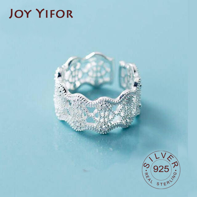 Lace Hollow Design Index Finger Ring 925 Sterling Silver Anniversary Adjustable Ring Elegant For Women Birthday Gift
