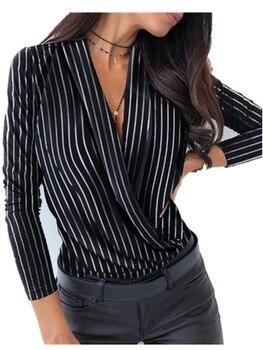 Sexy Blouse Shirt Women Fashion Ladies Pullover V-Neck Print Elegant Casual Autumn Winter Long Sleeve Tops Street wear