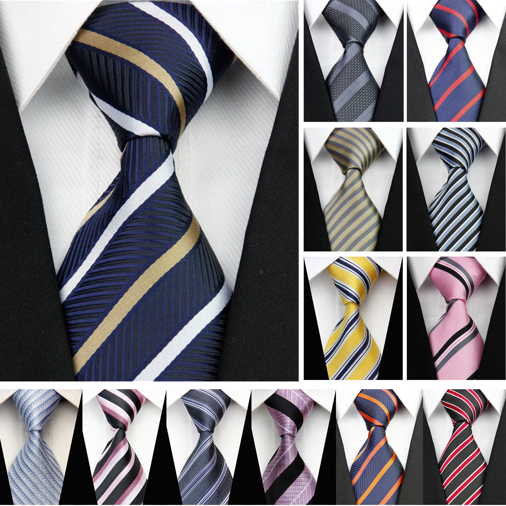 Business Work Tie For Men Suit Necktie Skinny Slim Narrow Man Silk Jacquard Ties Striped Blue Black Red Wedding Gravata