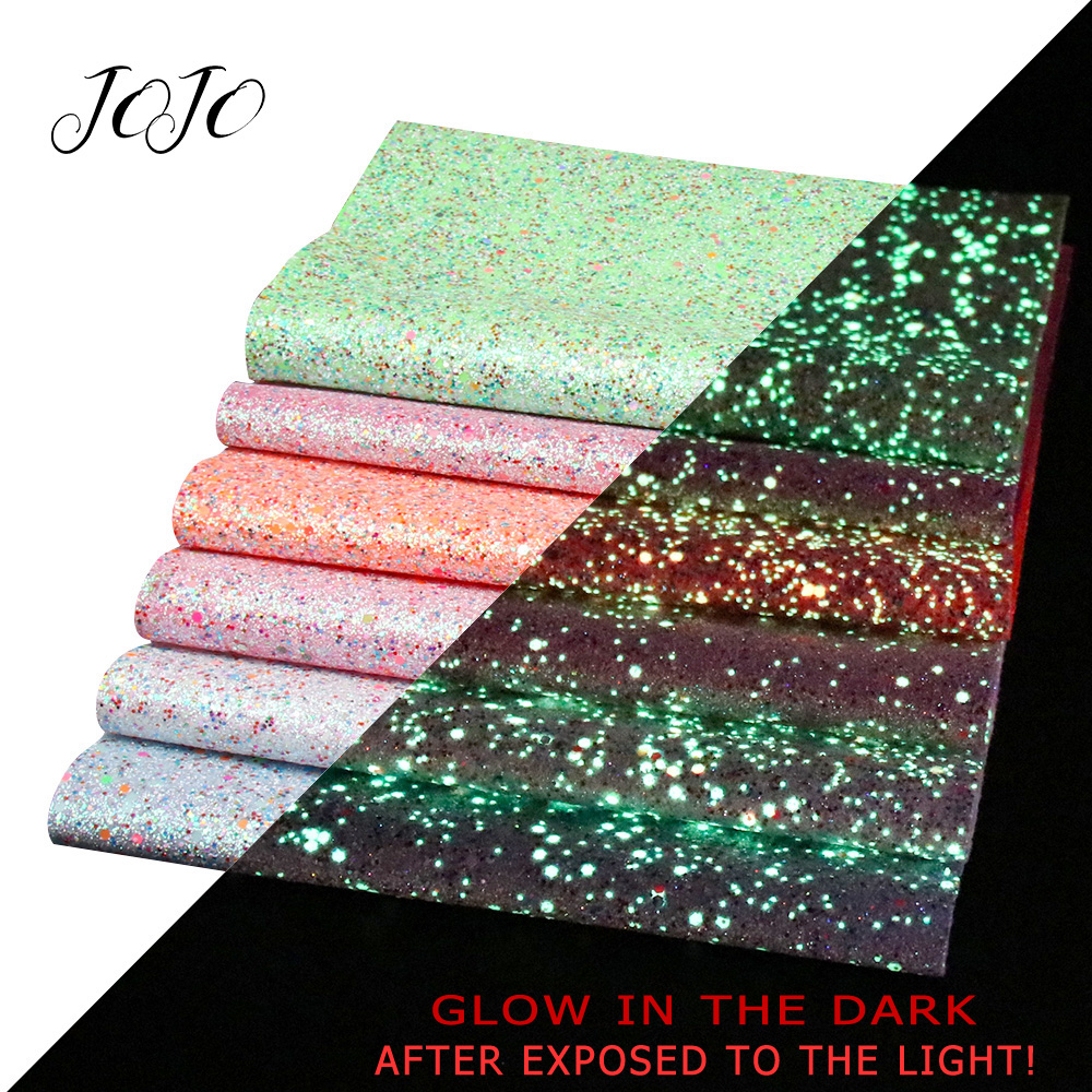 JOJO BOWS 22*30cm 1pc Luminous Chunky Glitter Fabric Synthetic Leather Sheets Glow In The Dark DIY Hair Bows Shoe Apparel Sewing
