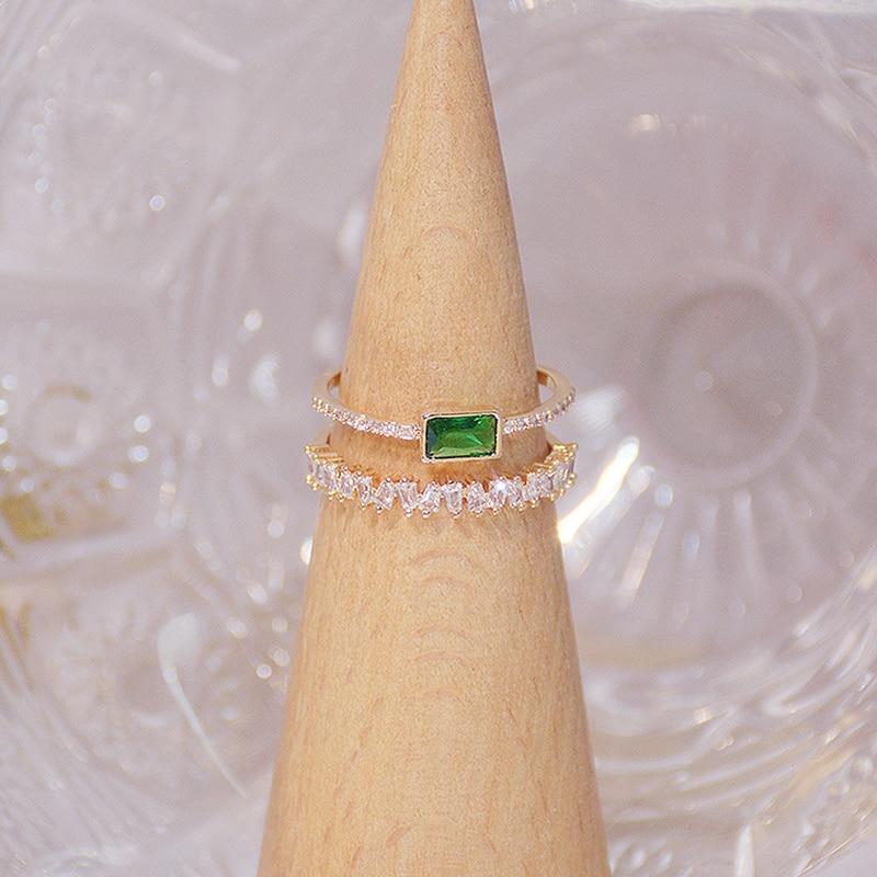 Bohême vert émeraude cristal femmes anneau Double couches Transparent Zircon élégant Bague Anillos briller bijoux de mariage de mariée 3