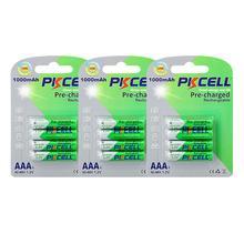 Baterias recarregáveis aaa da descarga do auto das baterias até to1200ciclo baterias recarregáveis do aaa da bateria de 12 pces pkcell 1.2v aaa 1000mah ni mh