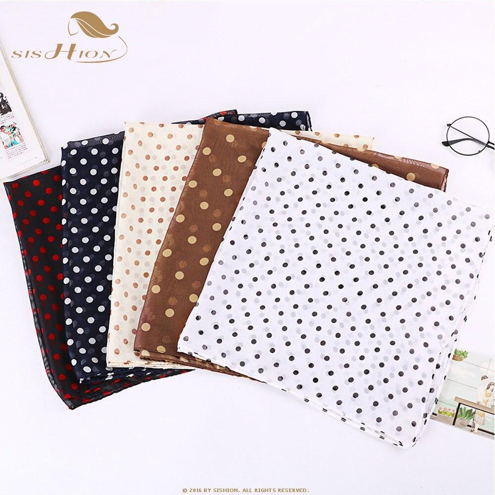 SISHION Autumn Ladies Classic Black And White Polka Dot Scarf Vintage 50s Small Squares Chiffon Print Korean Scarf SP0825