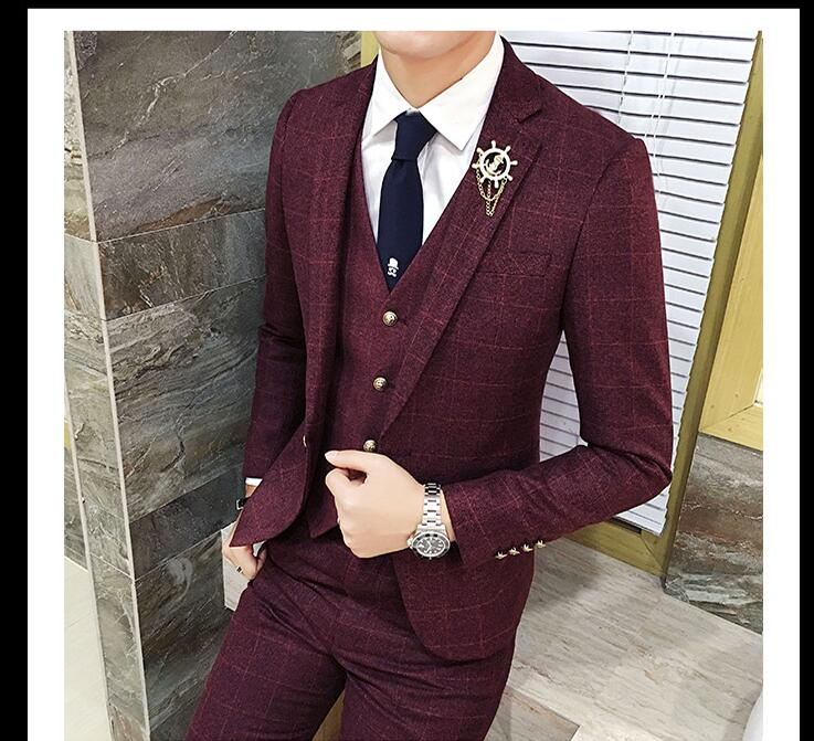 Business Casual 2020 Mens.Us 111 6 10 Off 2020 New Fashion Suit Suit Men S Plaid Three Piece Suit Small Suit Male Korean Version Of The Slim Business Casual Suits On