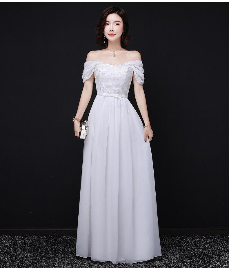 Vestido Azul Marino White Long Wedding Party Dresses For Women Plus Size Bridesmaid Dress For Dinner Sexy Prom Dress Chiffon
