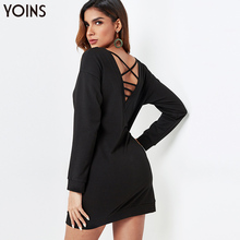 YONIS 2019 Autumn Winter Women Mini Dress V-neck Strap Back Plus Size Long Sleeves Vestidos Black Casual Party Dresses Tunic