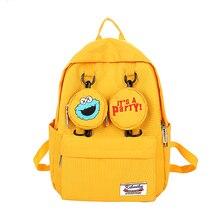 С героями «Улица Сезам» холст школьный рюкзак мешок с персонажем из мультфильмов высокого качества Повседневное для отдыха на открытом воздухе большие космоса школьный рюкзак
