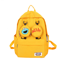 Sesame Street Canvas School Backpack Student Bag Cartoon Casual Outdoor Travel Large Space Schoolbag