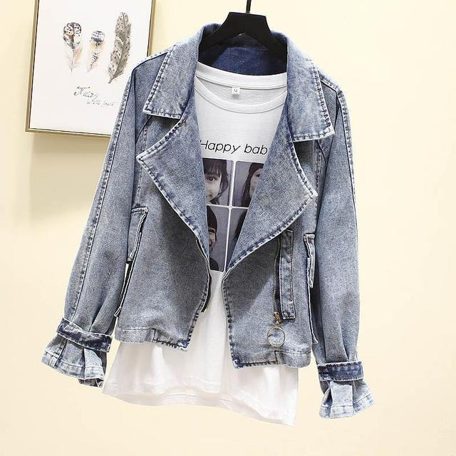 Short Denim Jacket Women Coat Spring And Autumn New Loose Retro Old Suit Collar Top Student Clothing