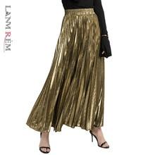Women Skirt Pleated-Sliver Elastic LANMREM Long Vintage A-Line High-Waist Fashion WH28501XL