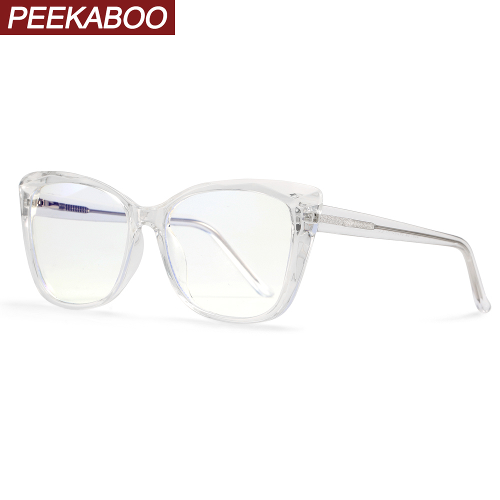 Peekaboo Tr90 Computer Glasses Anti Blue Eye Protection Black Transparent Cat Eye Eyeglasses Prescription Woman Acetate