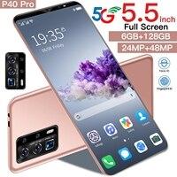 Galxy P40 Pro 5.5 pollici impronta digitale Face ID 4800mAh android 10.0 Dual SIM telefoni cellulari 10 Core 24 48MP MTK6763 Mini Smart Phone
