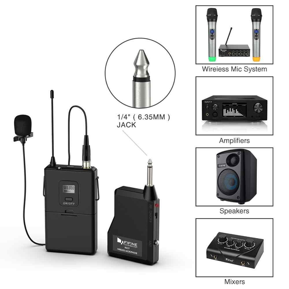 Fifine Sistema de micrófono de solapa Inalámbrico UHF de 20 canales con transmisor Bodypack, Mini micrófono de solapa y receptor portátil