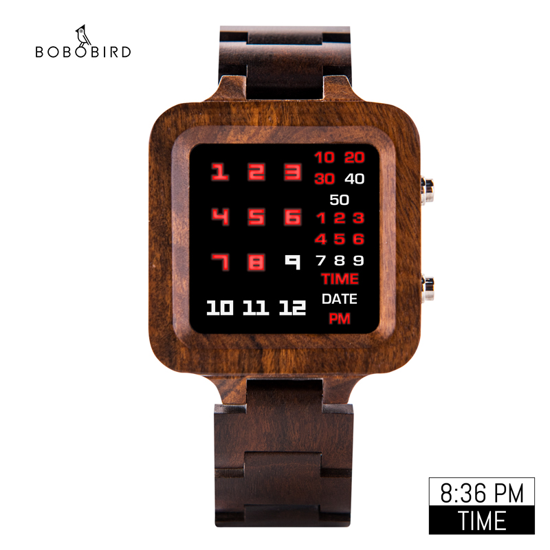 BOBO BIRD LED Wooden Men Watch Unique Digital Watch Male Quartz Wristwatch Night Vision Display Time Special Gift Reloj Hombre