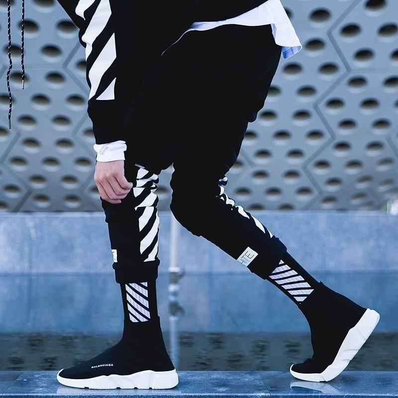 Letter Stripe Black White Happy Compression Crew Socks Men Cotton Warm Korean Funny Novelty Streetwear Mens Sock Harajuku Casual