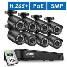 ZOSI 5MP CCTV açık gece görüş IP güvenlik kameraları Video gözetim güvenlik kamera sistemi POE H.265 8CH NVR kiti HDD