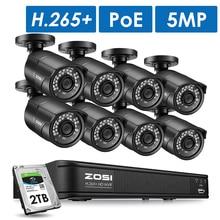 Zosi 5mp cctv câmera de segurança externa, visão noturna ip, sistema de vigilância por vídeo, h.265 8ch nvr kit hdd