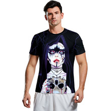 Mens t shirt Casual Scary Halloween tshirt 3D Print Party Short Sleeve T Shirt Top gym Anime men camiseta masculina new