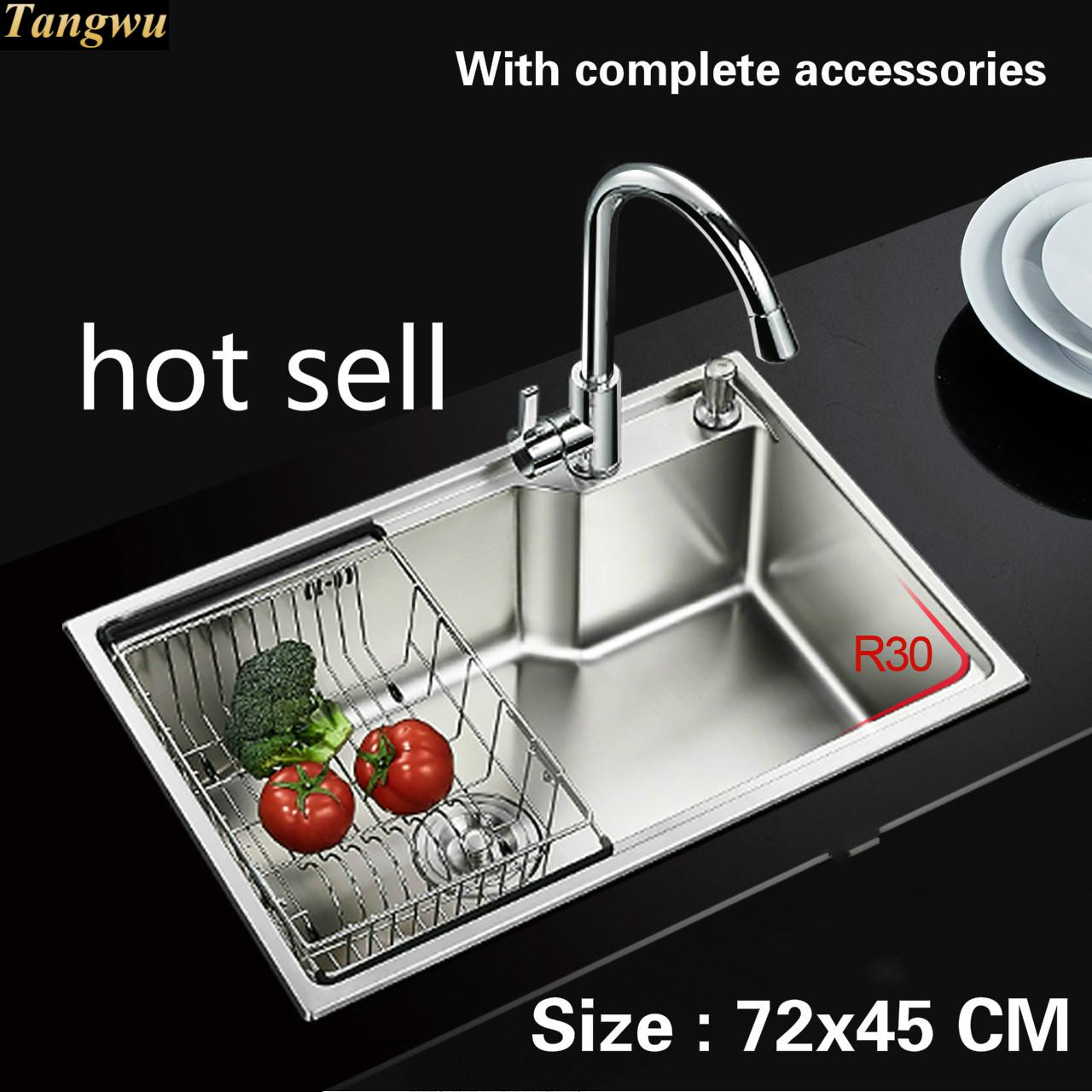 Free Shipping Food Grade 304 Stainless Steel Hot Sell Sink 0.8 Mm Thick Ordinary Single Trough Washing Dishes 72x45 CM