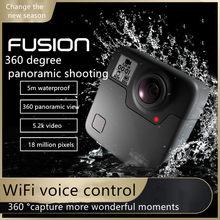 Gopro fusão câmera de movimento panorâmico de 360 graus inteligente de alta definição de vídeo pequena câmera à prova dwaterproof água
