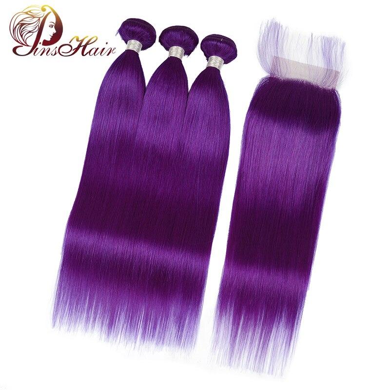 Pinshair 99J Pre Colored Bundles Purple Bundles With Frontal Peruvian Straight Human Hair Bundles With Closure Baby Hair Nonremy