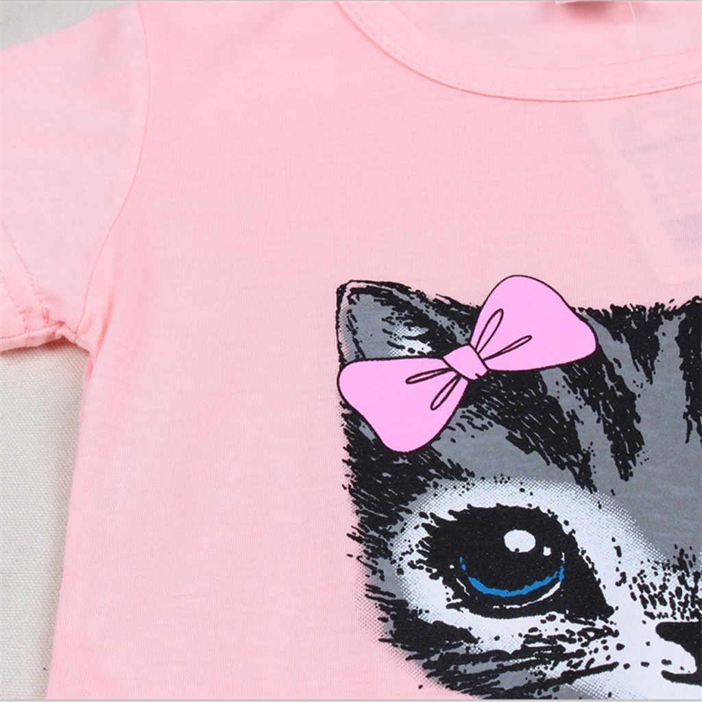 2020 新しい子供キッズベビー女の子ドレスノースリーブちょう結び猫漫画のプリント服服 vestidos