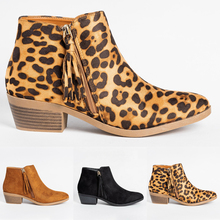 Ladies Retro Tassel Ankle Boots Women Leopard Printted Botas Mujer Zipper Pointed Thick Heel Winter Casual Shoes D25