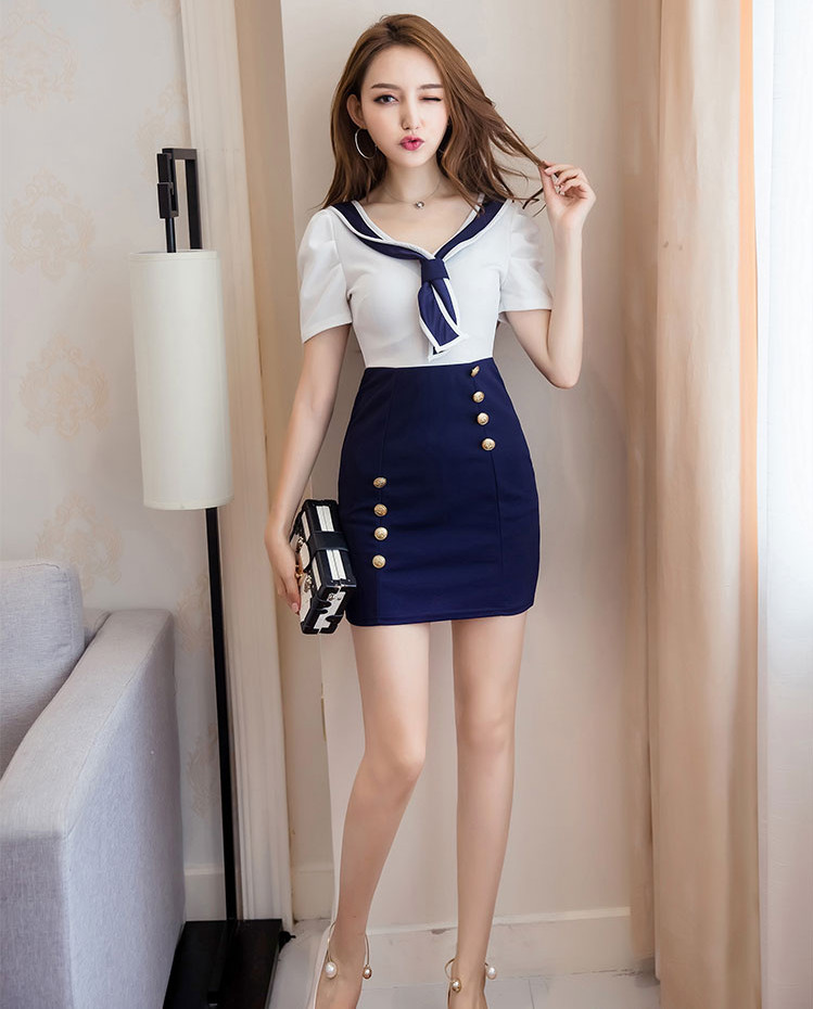 <font><b>2018</b></font> <font><b>Sexy</b></font> <font><b>Dress</b></font> Navy Style Bowtie V-neck Joint Contrast Color Double Breasted Short Sleeve Sheath Nightclub-10869 image