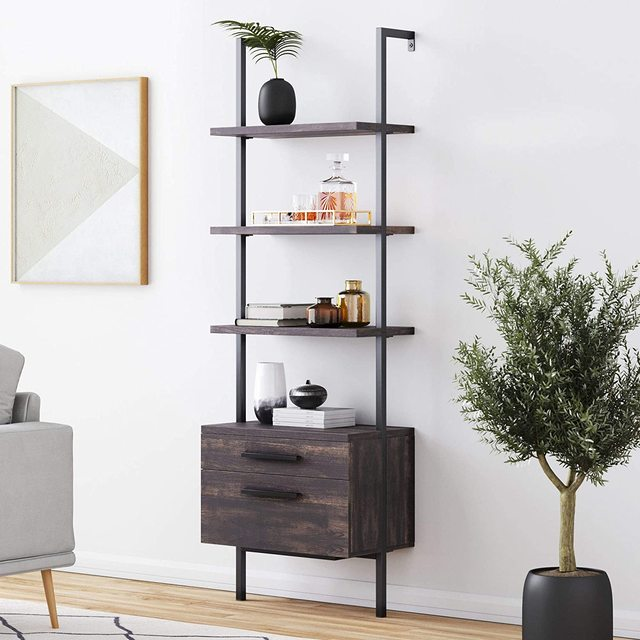 【US Warehouse】Industrial Bookshelf with Wood Drawers and Matte Steel Frame 1