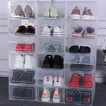 Caja de plástico transparente gruesa para zapatos, organizador de zapatos, caja de plastico para zapatos, apilable, 6 uds.