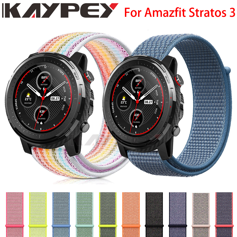 High Quality Nylon Loop Woven Strap For Xiaomi Huami Amazfit Stratos 3 2/2S Smart Watch Wrist Bracelet For Amazfit GTR47MM Watch