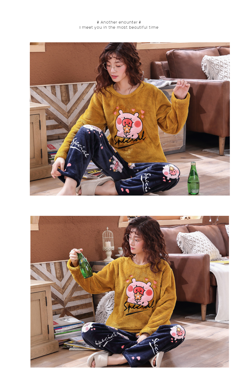 Long Sleeve Warm Flannel Pajamas Winter Women Pajama Sets Print Thicken Sleepwear Pyjamas Plus Size 3XL 4XL 5XL 85kg Nightwear 394