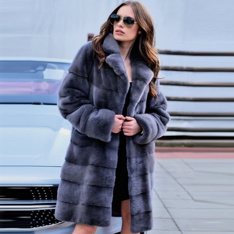 FURSARCAR 2019 New Winter Real Mink Fur Coats Skirt Women Genuine Mink Fur Coat Turn-down Collar Elegant Mink Fur Female Jacket