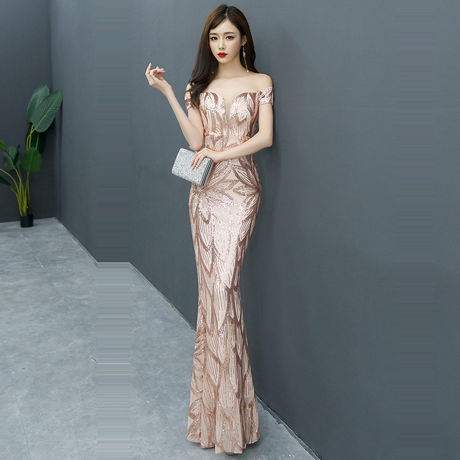Evening     Dress   Sequin Elegant Robe De Soiree 2019 Off The Shoulder   Evening     Dresses   Boat Neck Short Sleeve Formal Gowns F241-4