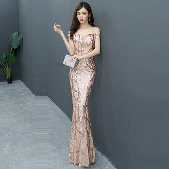 Evening Dress Sequin Elegant Robe De Soiree 2019 Off The Shoulder Evening Dresses Boat Neck Short Sleeve Formal Gowns F241-4