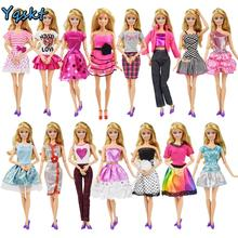 9 Item/Set Doll Accessories=3 Pcs Doll Clothes Dress+ 3 Plastic Necklace + Random 3 Pairs Shoes for Barbie doll Girl Gift  Toy plastic doll series 3 newest dress up doll with clothes accessories bottle without ball