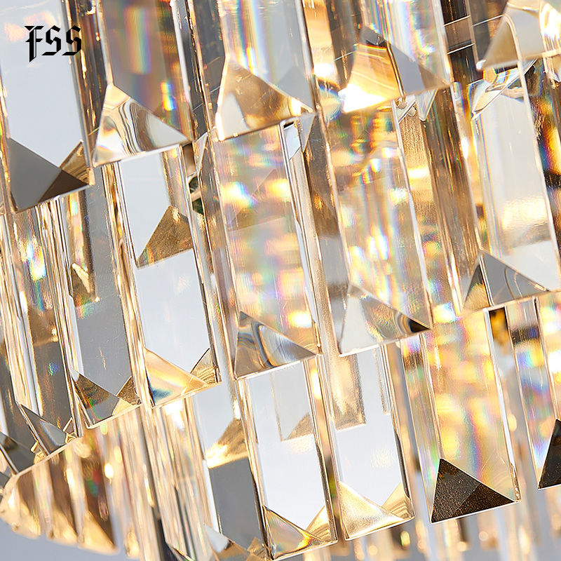 Best modern Crystal Rose Gold Rectangle Chandelier Lighting For Dining Room Bedroom Round Chandeliers Living Room