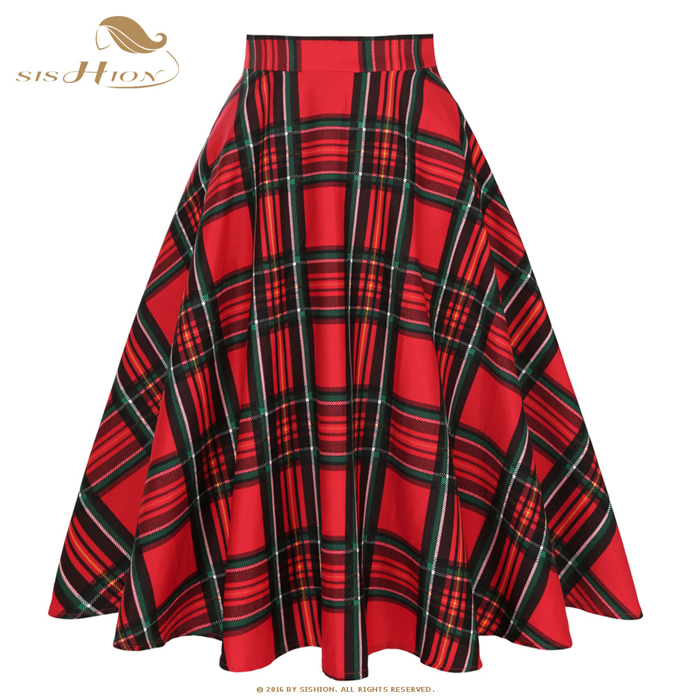 SISHION Winter New Long Skirt SS0006 Women Yellow Black Blue Red Plaid Checkered Skirt 50s 60s Vintage Skirts Faldas