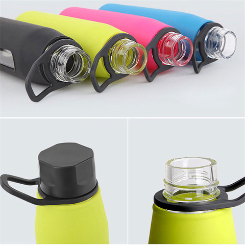 Bpa-Free 570ml Portable Handle Lid High Borosilicate Glass Water Bottle Sports&Outdoor Bicycle Kettle With Silica Body Cover Multan