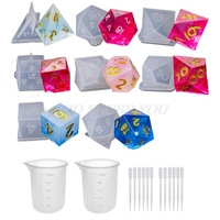 8PCS Dice Mold + 2PCS Silicone Cup DIY Crystal Epoxy Mold Fillet Shape Multi spec Digital Game Silicone Mould Dice Mold