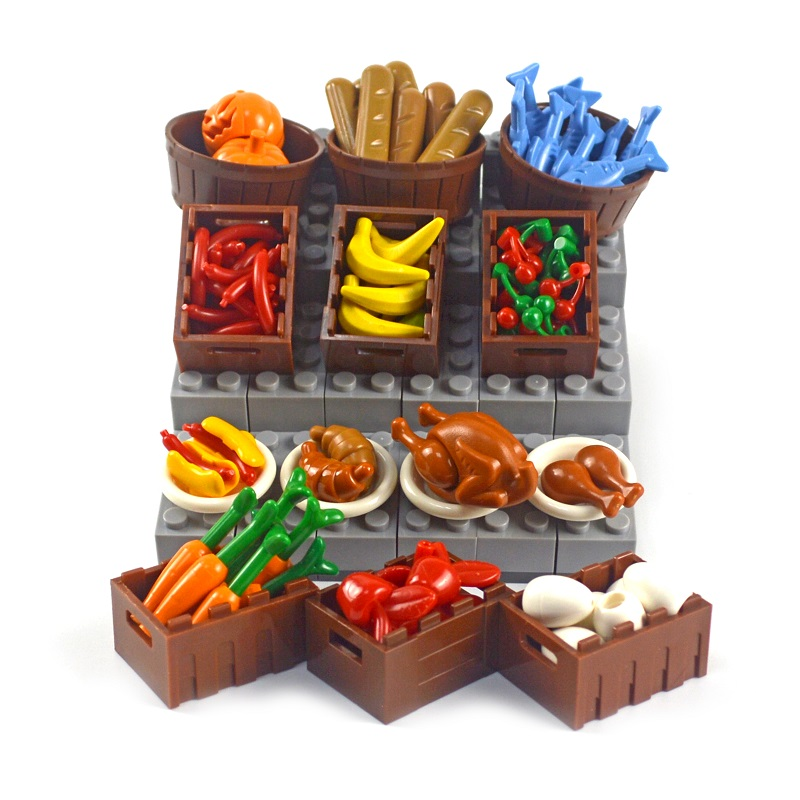 DIY Building Blocks Food Chicken Pumpkin Fish Fruit eggs Hot Dog Pot Toy MOC Parts City Accessories Bricks Compatible All Brands image
