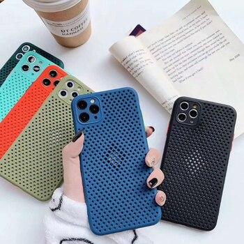 La disipación de calor hueco transpirable caja del teléfono para el iPhone 11 11Pro XS Max X XR 7 8 6S 6 Plus SE 2020 de enfriamiento suave TPU