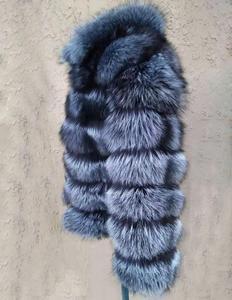 Image 3 - Linhaoshengyue moda kadın gümüş tilki kürk ceket kadın düzenli bölüm yatay şerit tilki kürk ceket kadın standı yaka