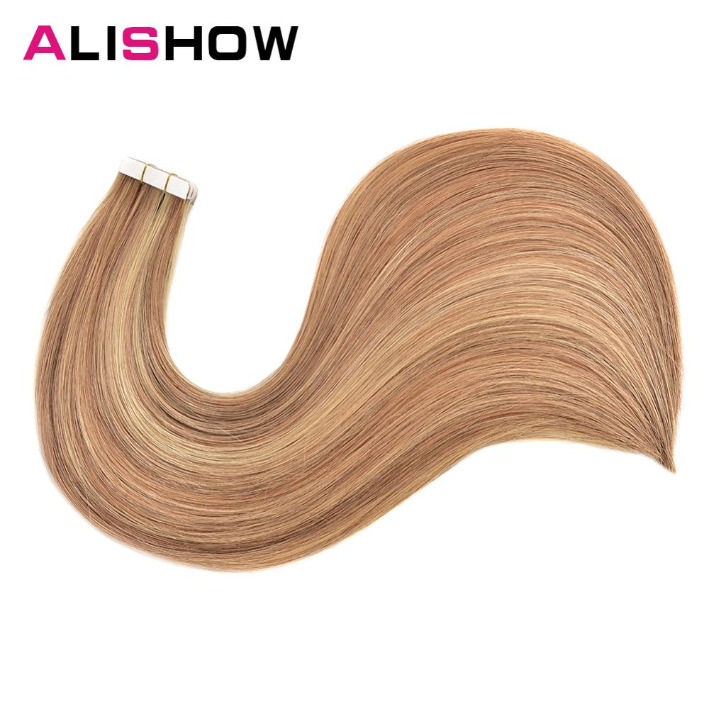 Alishow Tape In Remy Human Hair Extensions Double Drawn Hair Straight Invisible Skin Weft PU Tape On Hair Extensions