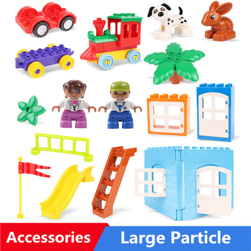 Diy Big Size Building Blocks Accessories Parts Cpmpatible With Duploed Window Doors Tree Slide Toys For Children Kids Gifts