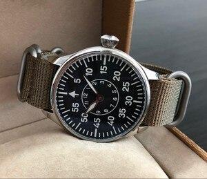 Image 2 - 44mm nie logo czarna tarcza dwie ręce azjatyckich 6497 17 klejnotów mechaniczne ręcznie nakręcany ruch mężczyzna zegarka zegarek świetlny pa173 pp8